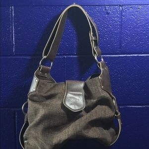 Brown leather and twill hobo bag